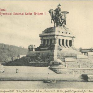 pocztówk z pomnikiem cesarza Wilhelma I w Koblencji