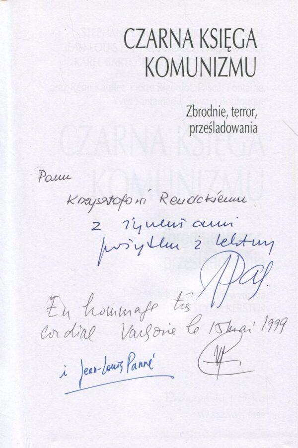 autografy autorów książki CZARNA KSIĘGA KOMUNIZMU