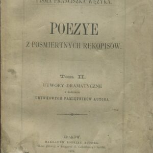 Okładka książki z poezjami Wężyka z 1878 roku